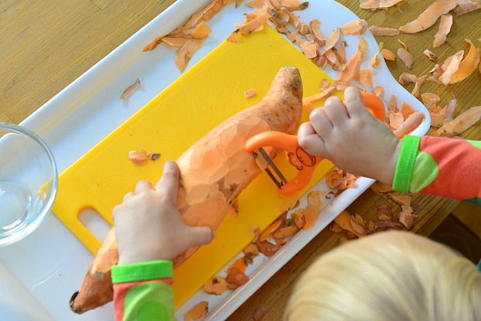 Using a peeler at two at How we Montessori