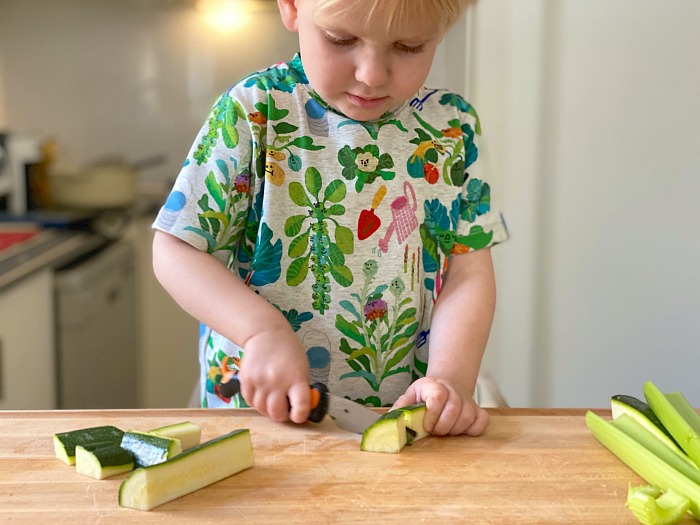Chopping with a knife at How we Montessori
