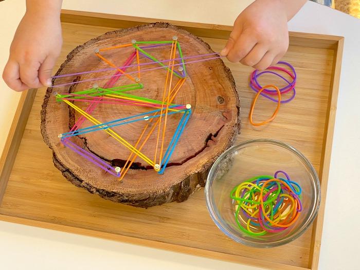 DIY geoboard at three years at How we Montessori