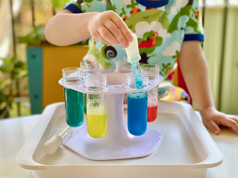 Lovevery three year old kits  colour mixing lab