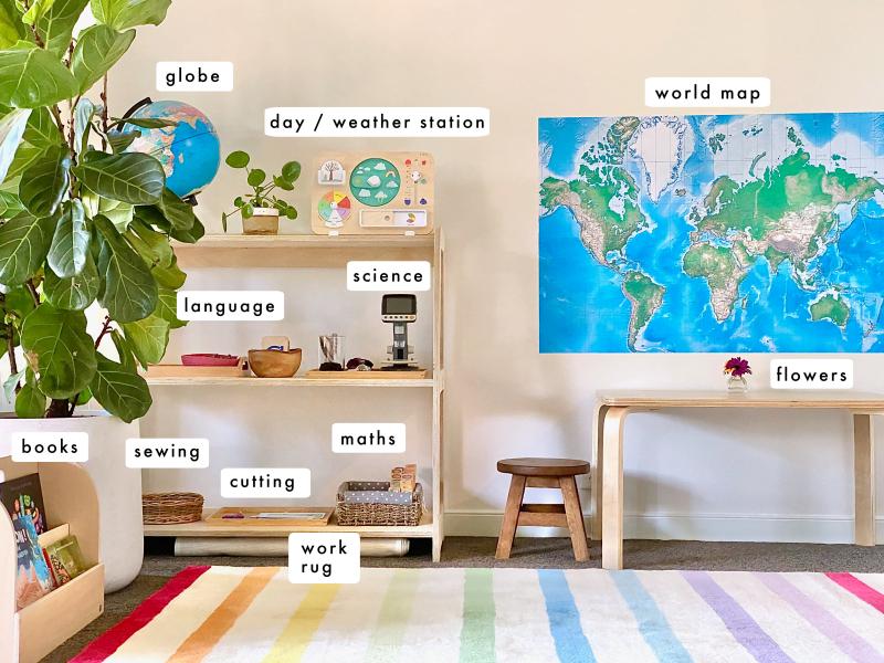Montessori Work Shelves at How we Montessori three year old Sydney language mathematics geography daily rhythm Sydney (1)