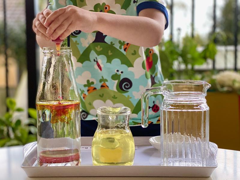 Golden bubbles experiment at How we Montessori