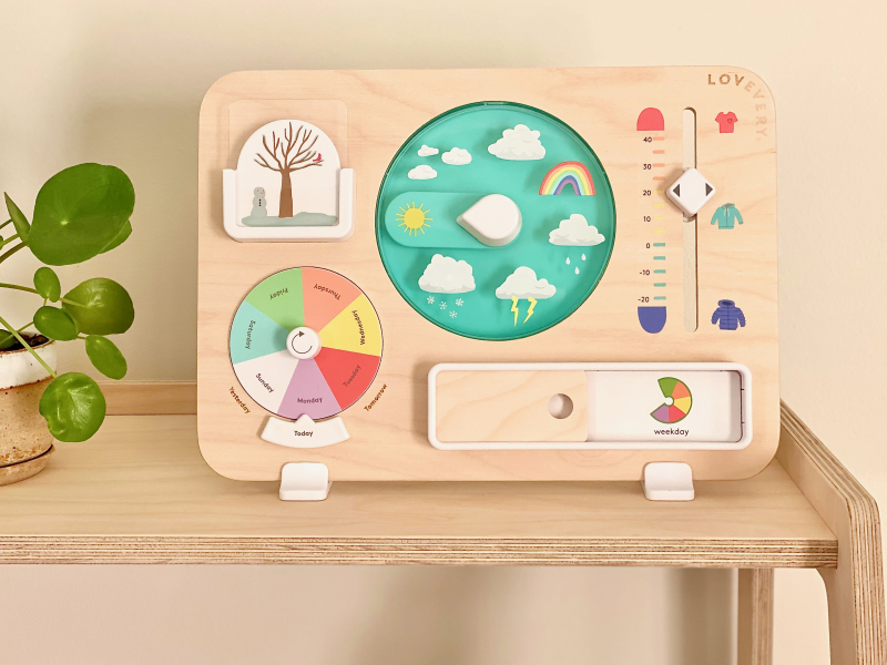 Weather day station calendar at How we Montessori wooden Lovevery