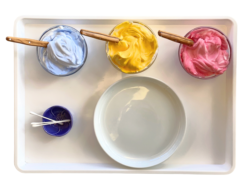 Colour mixing with shaving cream at How we Montessori (1)
