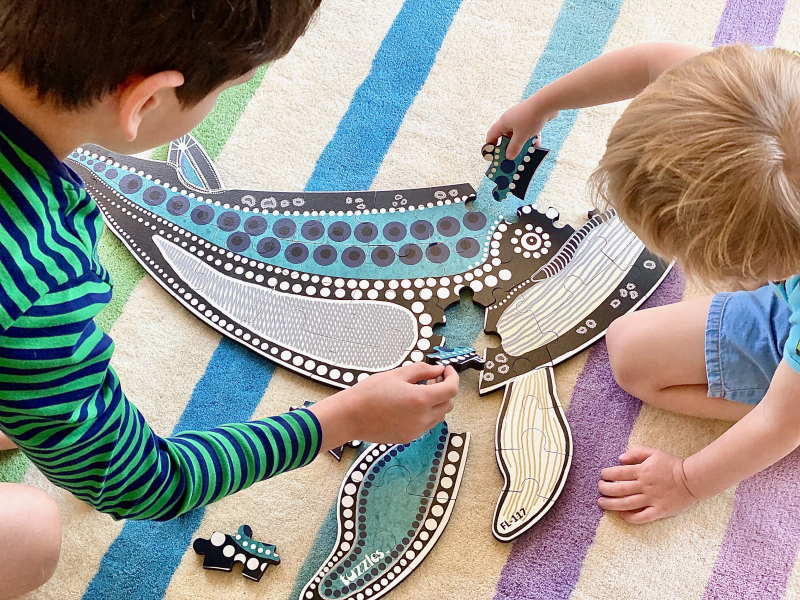 When things fit together  whale floor puzzle at How we Montessori