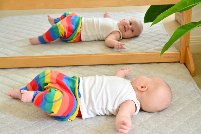 Wall mirror at two months at How we Montessori