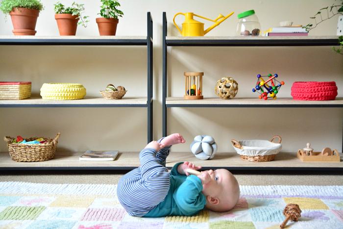 Montessori shelves at 4 months at How we Montessori